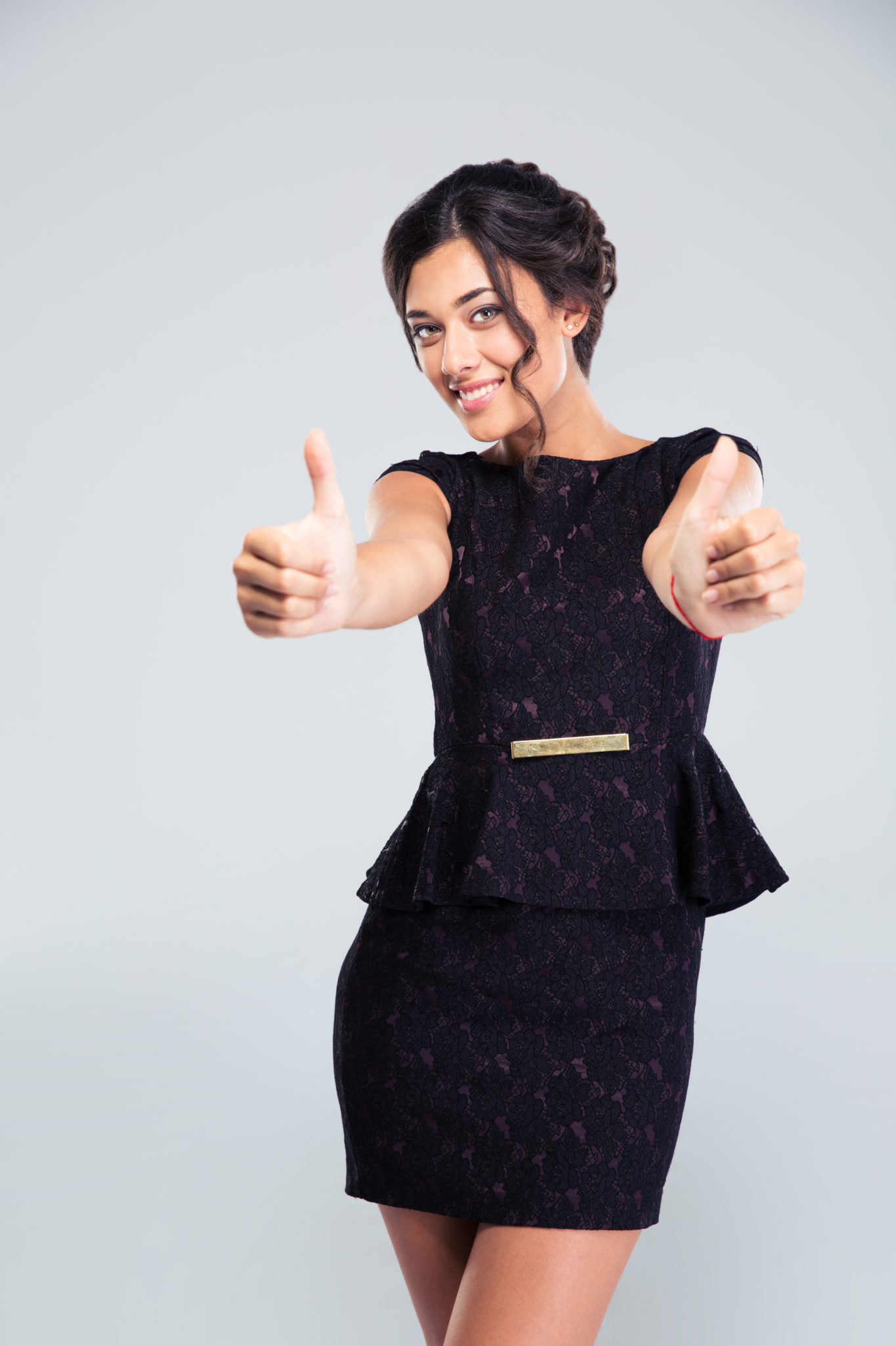 Woman In Fashion Dress Showing Thumbs Up